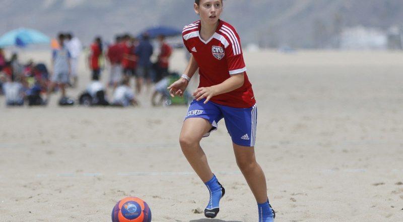 soccer, beach, girl